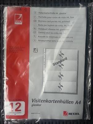 Visitenkartenhüllen A4 Von Acco Hetzel